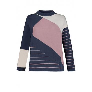 Ulla Popken Damen  Pullover, Jacquard, Colorblocking, Biobaumwolle, perlblau-rosa, Gr. 58/60, Mode in großen Größen