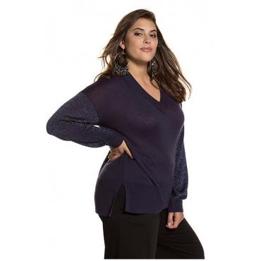 Studio Untold Damen  Pullover, Metallic-Effekt, breite Rippbündchen, dunkelblau, Gr. 54/56, Mode in großen Größen