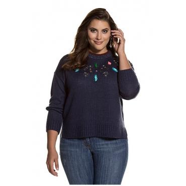 Studio Untold Damen  Pullover, Metallic-Effekt, hinten länger, Ziersteine, dunkelblau, Gr. 46/48, Mode in großen Größen