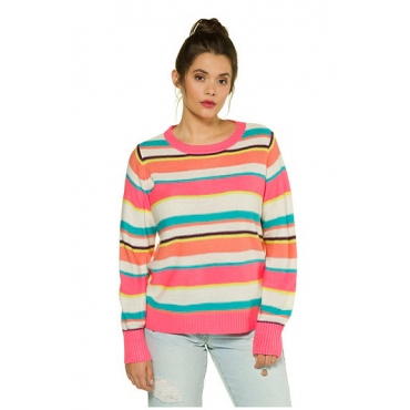 Studio Untold Damen  Pullover, Neon-Streifen, Langarm, Studio Untold, mehrfarbig, Gr. 54/56, Mode in großen Größen