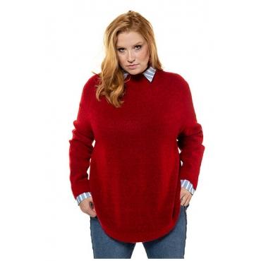 Studio Untold Damen  Pullover, oversized, lange Seitenschlitze, Langarm, tomatenrot-melange, Gr. 54/56, Mode in großen Größen