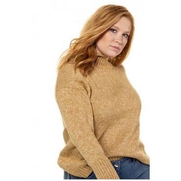 Studio Untold Damen  Pullover, oversized, Saum vorne kürzer, Langarm, senfgelb-melange, Gr. 54/56, Mode in großen Größen