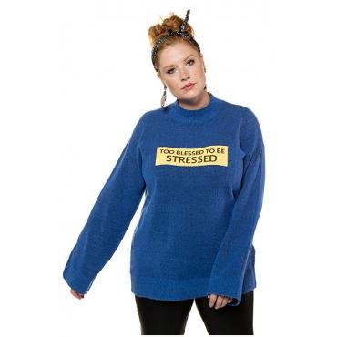 Studio Untold Damen  Pullover, oversized, Statement-Patch, gerader Langarm, blau, Gr. 54/56, Mode in großen Größen