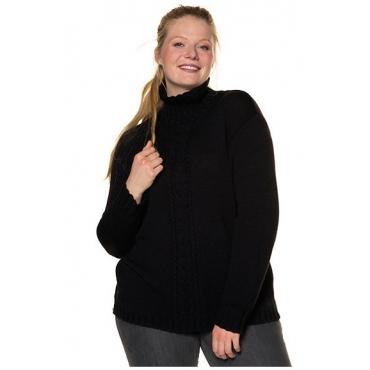 Ulla Popken Damen  Pullover, oversized, weicher Strick, Zopfmuster, schwarz, Gr. 54/56, Mode in großen Größen