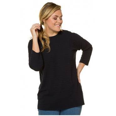 Ulla Popken Damen  Pullover, Querrippen, weite Form, 3/4-Arm, nachtblau, Gr. 46/48, Mode in großen Größen