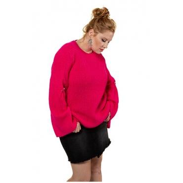 Studio Untold Damen  Pullover, Rippstrick, Statement-Ärmel mit Perlen, neon pink, Gr. 54/56, Mode in großen Größen