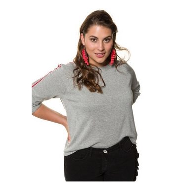 Studio Untold Damen  Pullover, Schulterstreifen, lange Ärmel, grau-melange, Gr. 54/56, Mode in großen Größen