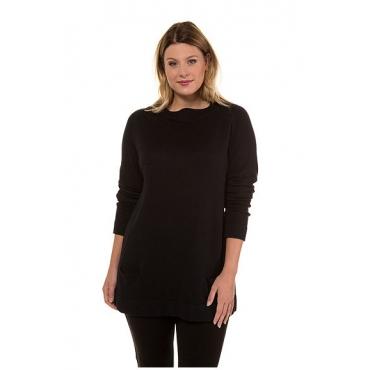 Ulla Popken Damen  Pullover, Stehkragen, lange Raglanärmel, selection, schwarz, Gr. 58/60, Mode in großen Größen