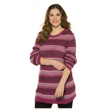 Ulla Popken Damen  Pullover, Streifen, längere Form, Grobstrick, zyklam, Gr. 58/60, Mode in großen Größen