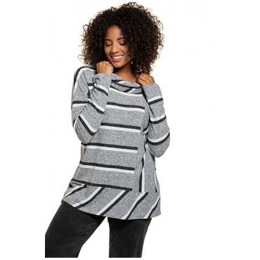 Ulla Popken Damen  Pullover, Streifenmix, Oversized, kuschelweicher Strick, grau-melange, Gr. 50/52, Mode in großen Größen