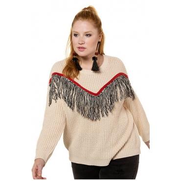 Studio Untold Damen  Pullover, Strukturstrick, Fransen, oversized, offwhite, Gr. 54/56, Mode in großen Größen