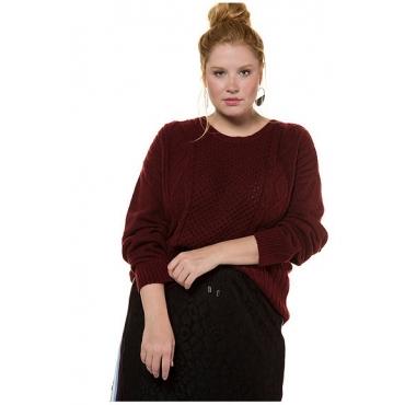 Studio Untold Damen  Pullover, weicher Strick, Zopfmuster vorne, Langarm, granatapfel, Gr. 54/56, Mode in großen Größen