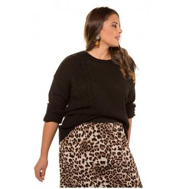 Studio Untold Damen  Pullover, weicher Strick, Zopfmuster vorne, Langarm, schwarz, Gr. 54/56, Mode in großen Größen