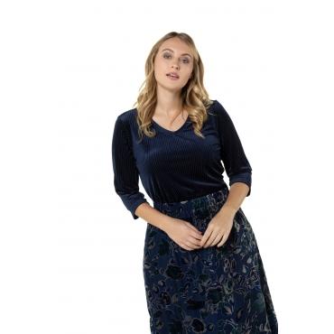 Ulla Popken  Samtshirt Damen Größe 58/60, marine, Mode in großen Größen