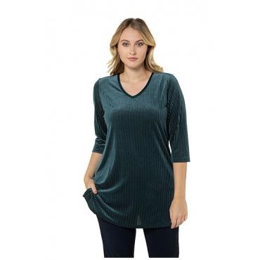 Ulla Popken Damen  Samtshirt, Rippstruktur, Classic, längere Form, dunkelgrün, Gr. 50/52, Mode in großen Größen