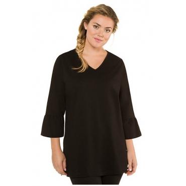 Ulla Popken Damen  Shirt, 3/4-Statement-Ärmel, länger geschnitten, schwarz, Gr. 50/52, Mode in großen Größen