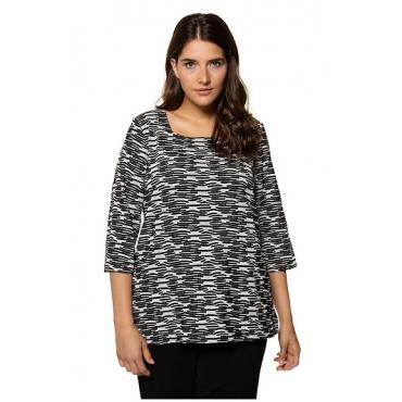 Ulla Popken Damen  Shirt, 3D-Design, Carreeausschnitt, 3/4-Arm, selection, schwarz, Gr. 58/60, Mode in großen Größen