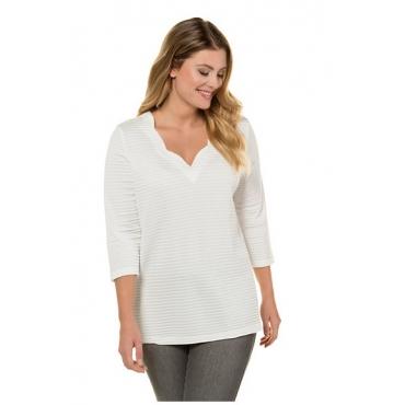 Ulla Popken Damen  Shirt, 3D-Struktur, Classic, Bogenausschnitt, selection, offwhite, Gr. 58/60, Mode in großen Größen