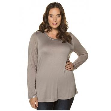 Ulla Popken Damen  Shirt, Ärmel mit Metallic-Effekt, Classic, Jersey, lichtgrau, Gr. 46/48, Mode in großen Größen