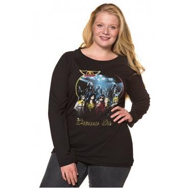 Ulla Popken Damen  Shirt, Aerosmith-Motiv, Regular, U-Boot-Ausschnitt, schwarz, Gr. 54/56, Mode in großen Größen