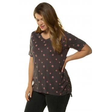 Ulla Popken Damen  T-Shirt, Früchtchen-Muster, Classic, Saum-Raffbänder, anthrazitgrau-melange, Gr. 58/60, Mode in großen Größen