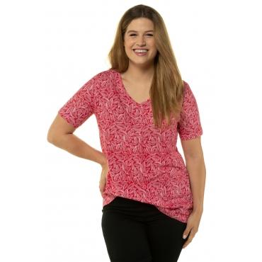 Ulla Popken Damen  T-Shirt, Blättermuster, A-Linie, Zierfalten, apfelrot, Gr. 58/60, Mode in großen Größen