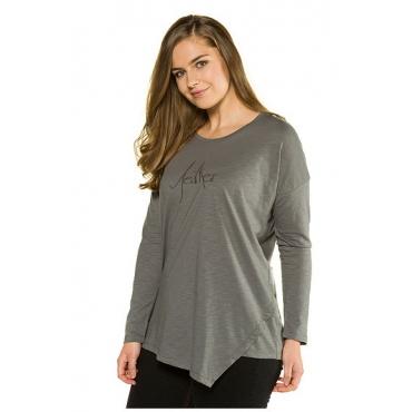 Ulla Popken Damen  Shirt, asymmetrischer Saum, Stickerei, Bio-Baumwolle, grau, Gr. 54/56, Mode in großen Größen