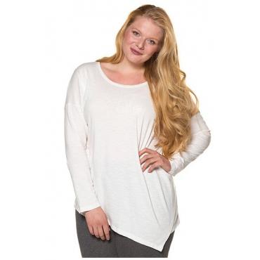 Ulla Popken Damen  Shirt, asymmetrischer Saum, Stickerei, Bio-Baumwolle, offwhite, Gr. 54/56, Mode in großen Größen