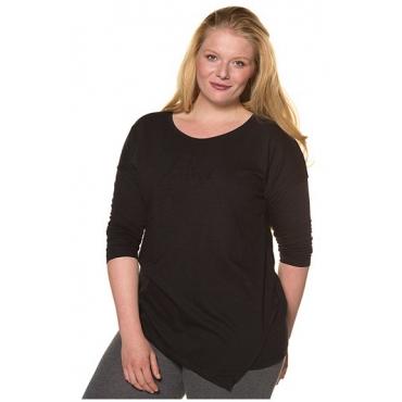 Ulla Popken Damen  Shirt, asymmetrischer Saum, Stickerei, Bio-Baumwolle, schwarz, Gr. 58/60, Mode in großen Größen