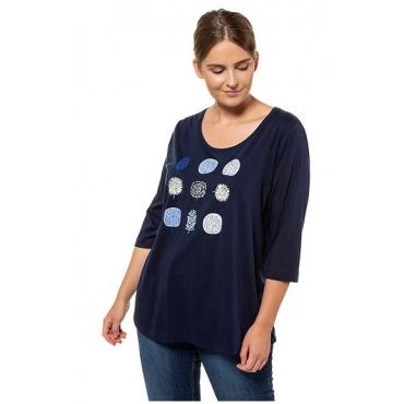 Ulla Popken Damen  Shirt, Bio-Baumwolle, Blätter-Motive, 3/4-Ärmel, PURE, königsblau, Gr. 58/60, Mode in großen Größen
