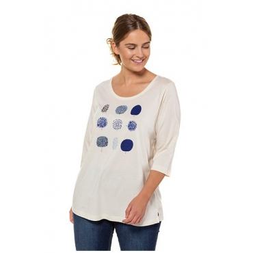 Ulla Popken Damen  Shirt, Bio-Baumwolle, Blätter-Motive, 3/4-Ärmel, PURE, vanille, Gr. 58/60, Mode in großen Größen