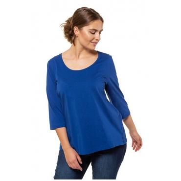 Ulla Popken Damen  Shirt, Bio-Baumwolle, Schulterknöpfe, 3/4-Ärmel, PURE, königsblau, Gr. 58/60, Mode in großen Größen