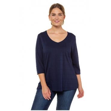 Ulla Popken Damen  Shirt, Bio-Baumwolle, Strukturstreifen, 3/4-Ärmel, PURE, dunkelblau, Gr. 58/60, Mode in großen Größen