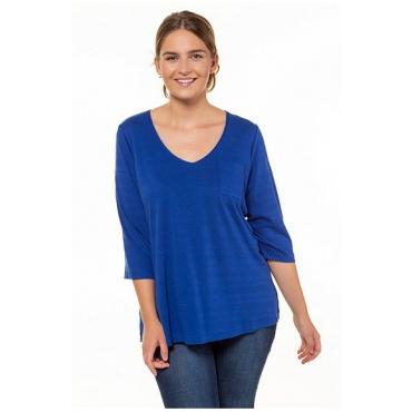 Ulla Popken Damen  Shirt, Bio-Baumwolle, Strukturstreifen, 3/4-Ärmel, PURE, königsblau, Gr. 58/60, Mode in großen Größen