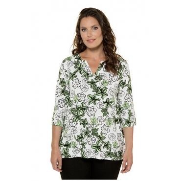 Ulla Popken Damen  Shirt, Blüten-Design, Classic, V-Ausschnitt, selection, moosgrün, Gr. 54/56, Mode in großen Größen