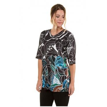 Ulla Popken Damen  Shirt, Blüten-Design, langer Halbarm, selection, horizont, Gr. 58/60, Mode in großen Größen