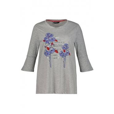 Ulla Popken Damen  Shirt, Blütenmotiv, A-Linie, Volantärmel, hellgrau-melange, Gr. 58/60, Mode in großen Größen