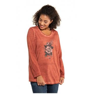 Ulla Popken Damen  Shirt, Blütenmotiv, Classic, Pailletten, cold dyed, kupfer-rot, Gr. 58/60, Mode in großen Größen