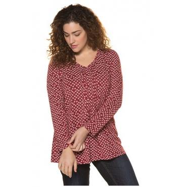 Ulla Popken Damen  Shirt, Blütenmuster, A-Line, Langarm, reine Baumwolle, braunrot, Gr. 42/44, Mode in großen Größen