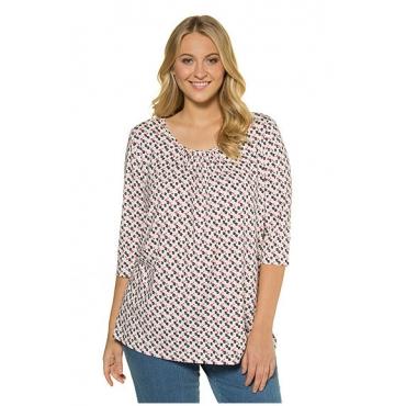 Ulla Popken Damen  Shirt, Blütenmuster, A-Linie, Kräuselung, 3/4-Arm, offwhite, Gr. 46/48, Mode in großen Größen