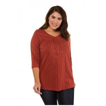 Ulla Popken Damen  Shirt, Blütenmuster, A-Linie, reine Baumwolle, mehrfarbig, Gr. 54/56, Mode in großen Größen