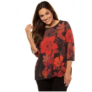 Ulla Popken Damen  Shirt, Blütenmuster, Classic, Rücken uni, 3/4-Arm, henna, Gr. 58/60, Mode in großen Größen