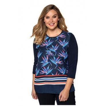 Ulla Popken Damen  Shirt, Blütenmuster, Classic, Streifensaum, mitternachtsblau, Gr. 58/60, Mode in großen Größen