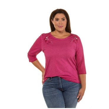 Ulla Popken Damen  Shirt, Blütenstickerei, Regular, Zierperlen, 3/4-Arm, himbeere, Gr. 58/60, Mode in großen Größen