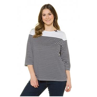 Ulla Popken Damen  Shirt, Breton-Streifen, U-Boot-Ausschnitt, marine, Gr. 58/60, Mode in großen Größen