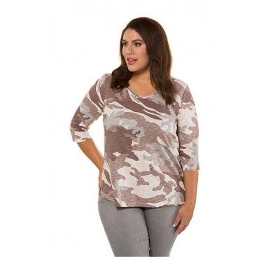 Ulla Popken Damen  Shirt, Camouflage-Muster, Classic, 3/4-Arm, mandelrosa, Gr. 58/60, Mode in großen Größen