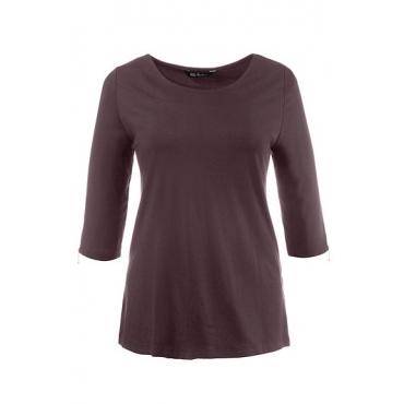 Ulla Popken Damen  Shirt, Classic, U-Boot-Ausschnitt, dunkel bordeaux, Gr. 46/48, Mode in großen Größen