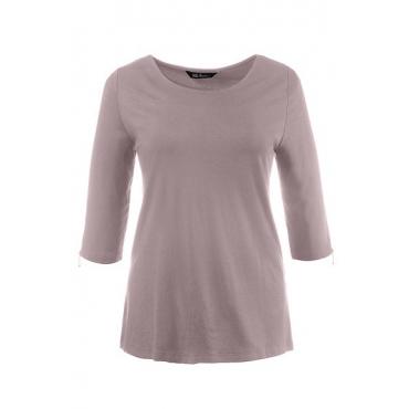 Ulla Popken Damen  Shirt, Classic, U-Boot-Ausschnitt, mattes altrosé, Gr. 54/56, Mode in großen Größen