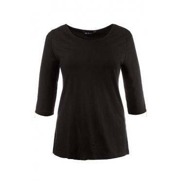 Ulla Popken Damen  Shirt, Classic, U-Boot-Ausschnitt, schwarz, Gr. 54/56, Mode in großen Größen