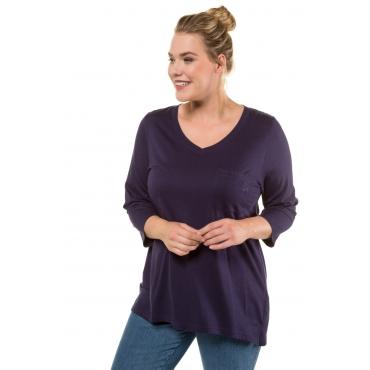 Ulla Popken  Shirt Damen 50/52, dunkel violett, Modal, Mode in großen Größen